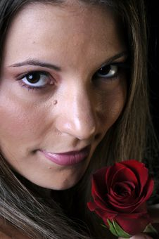 Free Beautiful Young Woman With Red Rose Stock Image - 7025841