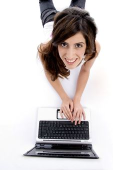 Free Laying Woman Working On Laptop Royalty Free Stock Photo - 7025875