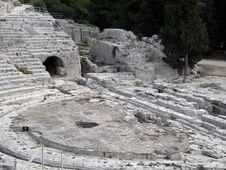 Sicily: Greek Theater Ancient Ruins At Syracusa Royalty Free Stock Photography