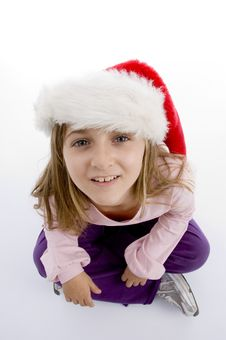 Free Sweet Girl With Christmas Hat Looking You Royalty Free Stock Image - 7026016