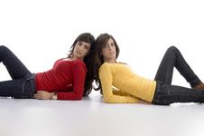 Free Two Friends Lying And Looking At Camera Royalty Free Stock Photography - 7026227