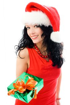 Beautiful Brunette Woman Gives A Present To Us Royalty Free Stock Image