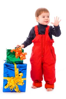 Free Cute Two Year Old Boy With A Lot Of Presents Royalty Free Stock Photo - 7026855