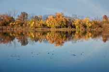 Fall Colors On A Calm Lake Royalty Free Stock Photography