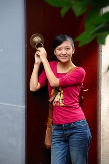 Free Woman In A Red Door Stock Photos - 7028013