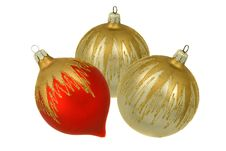 Free Isolated Red And Silver Christmastree Ornaments Stock Photos - 7028323