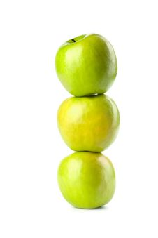 Free Three Green Apples Isolated Stock Photography - 7029192