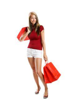 Smiling Woman At Shopping Stock Photo