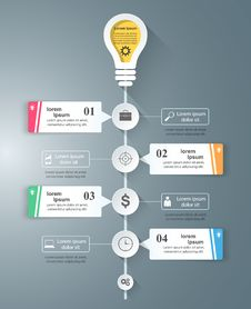 Business Infographics Origami Style Vector Illustration. Bulb Icon. Light Icon. Royalty Free Stock Photography