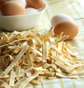 Free Egg Noodles On A Table And Eggs Stock Photography - 7037652