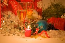 Free Christmas Composition With Candle Royalty Free Stock Image - 7031476