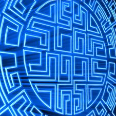 Blue Round Labyrinth Stock Photo
