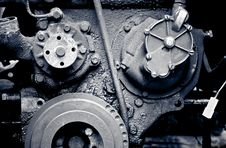 Old Diesel Engine Close-up Royalty Free Stock Images