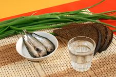 Vodka And Russian Traditional Appetizers Royalty Free Stock Photos