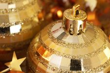 Free Golden Christmas Baubles Stock Image - 7034701