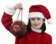 Free Pretty Little Girl With Christmas Clothes Royalty Free Stock Image - 7035206