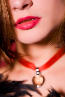 Close-up Of Sensual Female Lips Royalty Free Stock Images