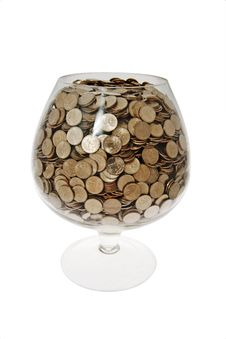 Glass With Money Royalty Free Stock Photo