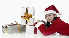 Free X-mas Little Girl With Presents Royalty Free Stock Image - 7035896