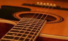 Acoustic Guitar Body And Fret Board Close Up. Royalty Free Stock Image