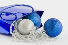 Blue Bag, Christmas Balls And Glass Beads Stock Image