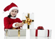 Free X-mas Little Girl With Presents Stock Photography - 7036462