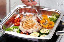 Free Pork Steak With Vegetable Stock Photos - 7037343