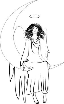 Angel On The Moon Stock Image