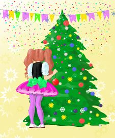 Free Girl Decorating Christmas Tree Stock Photo - 7037740