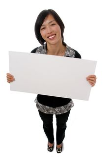 Free Female Holding Blank Sign Stock Photography - 7037962