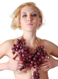 Free Woman With Bunch Of Grapes Stock Photography - 7038562