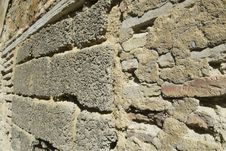 Free Stone Rock And Rouhg Cement Block Wall Wood Beam Stock Image - 7039111