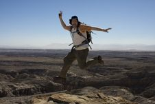 Free Jumping Hiker Stock Photography - 7039312