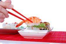 Free Holding Shrimp With Chopsticks Stock Images - 7039414