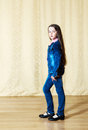 Free Girl In A Blue Denim Suit In Studio Royalty Free Stock Images - 70342019