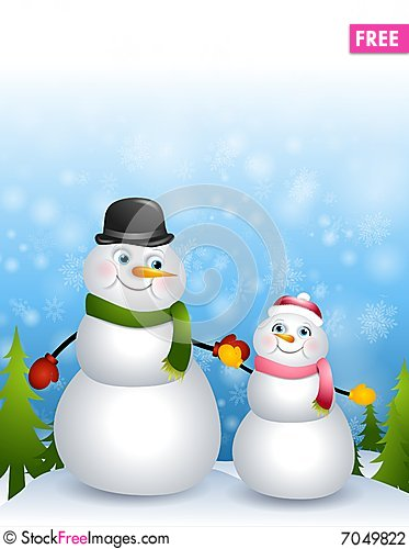 Free Father Daughter Snowmen Stock Photography - 7049822