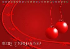 Christmas Red Ornaments Illustration On Dark Red B