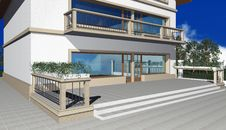 Free 3D Render Of Modern Residential House Stock Image - 7041491