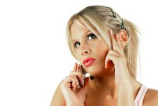 Free Attractive Female Making A Phone Call Stock Image - 7041701
