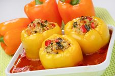 Filled Yellow Peppers With Minced Meat Stock Images