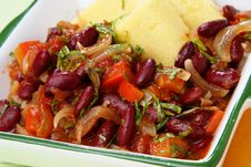 Free Polenta With Stewed Vegetable In Bowl Royalty Free Stock Photos - 7042208