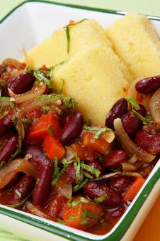 Free Polenta With Stewed Vegetable In Bowl Stock Photo - 7042210