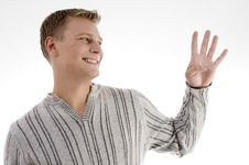 Free Smiling Man With Counting Hand Gesture Royalty Free Stock Photo - 7042595