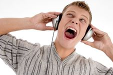Free Shouting Man With Headphone Looking Upward Royalty Free Stock Images - 7042719