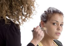 Free Beautician Doing Make Up Of Woman Stock Images - 7042884