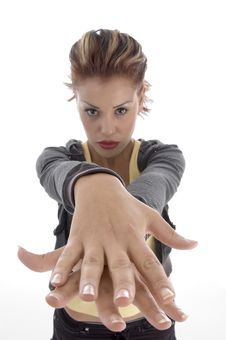 Free Glamorous Woman Making Hand Gesture Stock Photos - 7042913