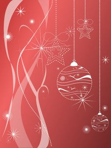 Christmas Decorations On Red Background Stock Photos