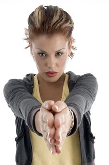 Young Woman Joint Hands Stock Images