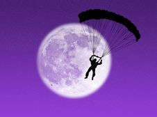 Free Parachutist In The Moon Royalty Free Stock Image - 7043226