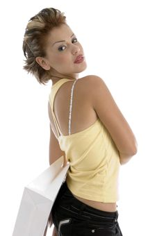 Sexy Woman With Shopping Bag Stock Photos